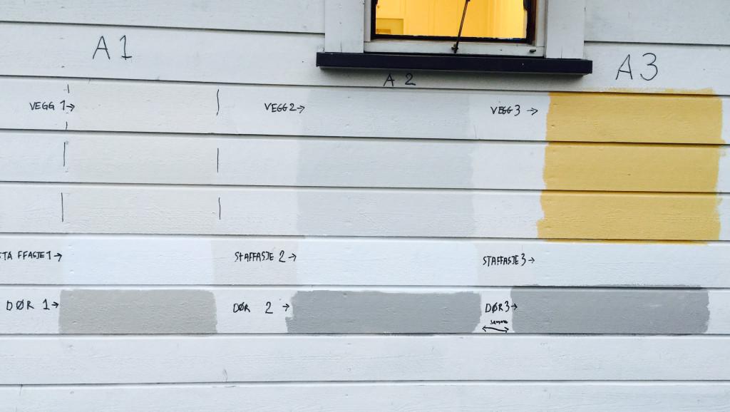 Fargeprøver på vegg